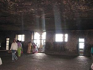 Lenyadri - Interior of Ganesha temple cave.