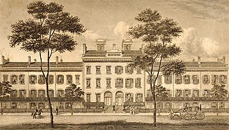Bleecker Street - LeRoy Place, south side of Bleecker Street, drawn in 1831. After 1852, the economic status of the area declined and these aristocratic buildings had all been demolished by 1875.