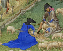 Sheep shearing as depicted in Les Très Riches Heures du Duc de Berry.