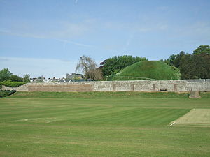 Lewes Priory - The Mount and south-facing wall.