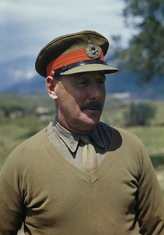Oliver Leese - Sir Oliver Leese, commander of the British Eighth Army, at his Battle Headquarters in the Mignano area, Italy 1944.