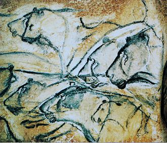 European early modern humans - Aurignacian painting of cave lions from Chauvet Cave, Ardèche (museum replica)
