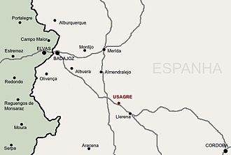 Second Siege of Badajoz (1811) - Map showing Badajoz, Elvas, Albuera, Campo Maior, Usagre, and Mérida