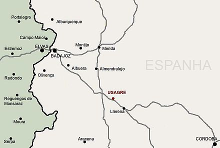 Map shows the area between Cordoba and Elvas, including Badajoz.