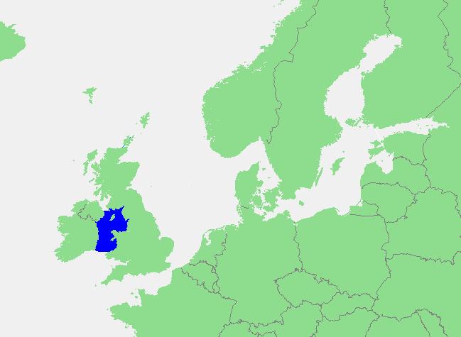 Locatie Ierse Zee