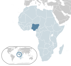 Location of  Nigeria  (dark blue)– in Africa  (light blue & dark grey)– in African Union  (light blue)  —  [Legend]