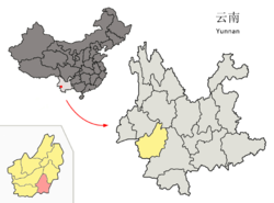 Location of Shuangjiang County (pink) and Lincang Prefecture (yellow) within Yunnan province of China