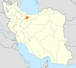 Map of Iran with Alborz highlighted