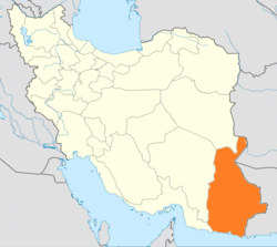 Map of Iran with Sistan and Baluchestan highlighted