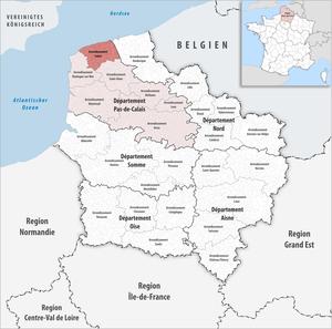 Arrondissement of Calais - Image: Locator map of Arrondissement Calais