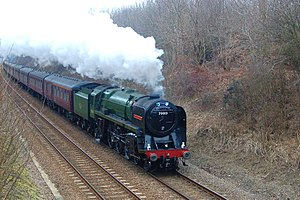 Hethersett - Preserved locomotive 70013 ''Oliver Cromwell'' on the Ely-Norwich line near Hethersett on 11 March 2010.