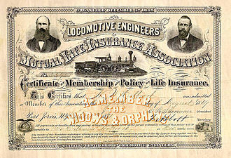 Brotherhood of Locomotive Engineers and Trainmen - 1871 Life insurance policy