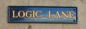 Logic Lane - The sign for Logic Lane, off the High Street, Oxford.