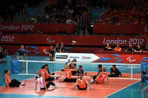 Sitting volleyball - Netherlands versus Japan women's match at the 2012 Summer Paralympics in London