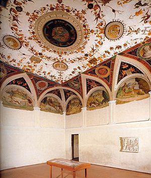 Lorenzo Leonbruno - Lorenzo Leonbruno. 1520. Camera Grande: Ceiling Fresco of Isabella d'Este's Widow Apartment, Corte Vecchia, in the Ducal Palace in Mantua.
