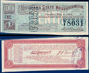 Louisiana State Lottery ticket from 1888. Fron...