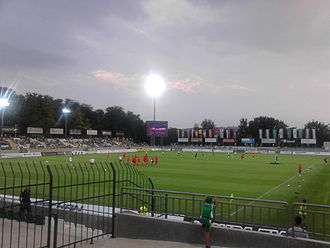 PFC Ludogorets Razgrad - Players warming up before a league fixture between Ludogorets and CSKA Sofia at the Ludogorets Arena in August 2014.