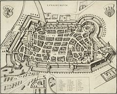 Lüneburg, some two decades before Bach's stay in that town: St Michael's pictured in lower right (Source: Wikimedia)