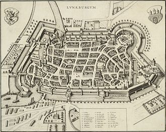 Johann Sebastian Bach - Lüneburg, some two decades before Bach's stay in that town: St Michael's pictured in lower right