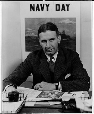Lyman Perry - A 1932 photograph taken in the Navy press room likely in the first half of the year while he was still assigned to the office of Chief of Naval Operations.