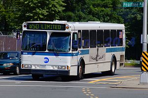 Flushing–Co-op City buses - A now-retired Orion V bus on Q50 service in Co−Op City.