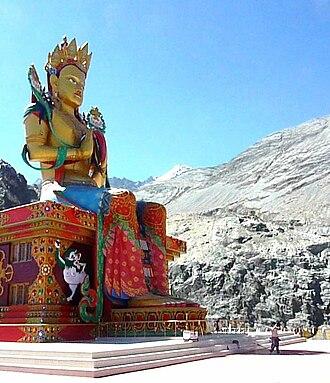 Nubra Valley - Maitreya - 33 metre symbol of peace facing Pakistan. Nubra Valley