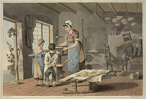 Oatcake - A painting of a woman making oat cakes, painted by George Walker (1781–1856). Image taken from The costume of Yorkshire