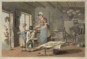 The Costume of Yorkshire - Image: Making oat cakes The costume of Yorkshire (1814), plate IX, opposite 21 BL