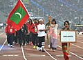 Maldives players taking part in the ceremonial march pass, on the occasion of the 12th South Asian Games-2016, at Indira Gandhi Athletics Stadium, in Guwahati, Assam on February 05, 2016.jpg