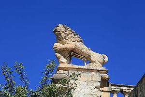 Casa Leoni - One of the four lion statues from which Casa Leoni gets its name