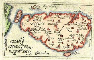 Italian irredentism in Malta - Map of Malta in the 16th century, when Italian was declared the official language by the Knights of Malta