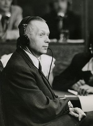 manfred roeder judge  prosecution witness manfred roeder sits on the witness stand at the nuremberg trials 1947