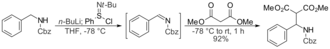 N-tert-Butylbenzenesulfinimidoyl chloride - Lithiated benzylamine reacts with N-tert-butylbenzenesulfinimidoyl chloride to give an imine, which then reacts with dimethyl malonate to give a Mannich base.