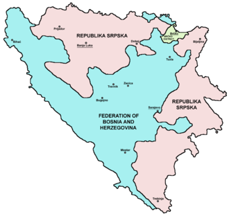 Politics of country subdivisions - Bosnia and Herzegovina showing Republika Srpska, the Federation and Brčko