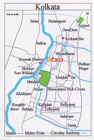 Posta, Burrabazar - Image: Map Kolkata Posta