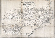 Map North Carolina roads and railroads 1854