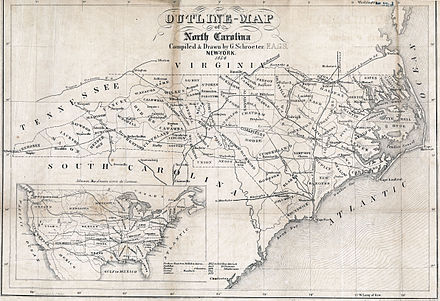 Map of the roads and railroads of North Carolina, 1854 Map North Carolina roads and railroads 1854.jpg