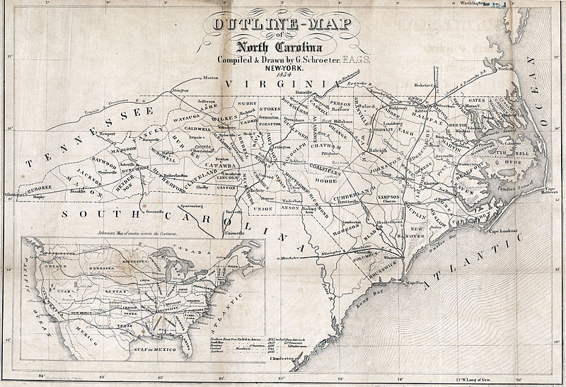 Map North Carolina roads and railroads 1854.jpg