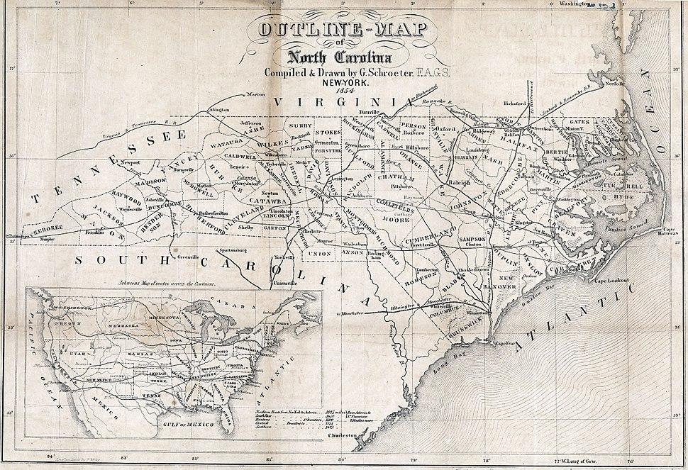 Map North Carolina roads and railroads 1854.jpg