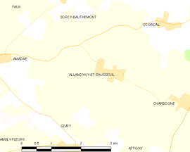 Mapa obce Alland'Huy-et-Sausseuil