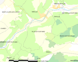Mapa obce Villecey-sur-Mad