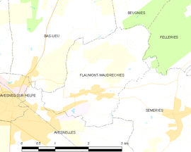Mapa obce Flaumont-Waudrechies