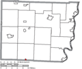Map of Belmont County Ohio Highlighting Wilson Village.png