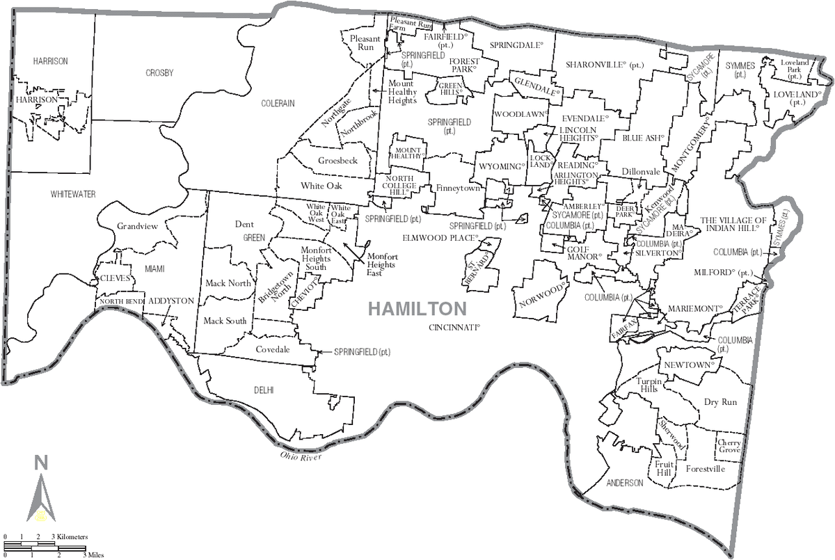 Picture of: File Map Of Hamilton County Ohio With Municipal And Township Labels Png Wikimedia Commons