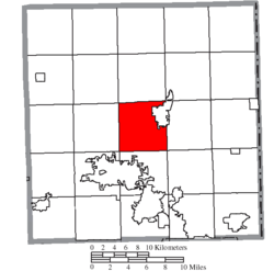 Location of Bazetta Township in Trumbull County
