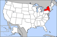 Map of USA highlighting New York