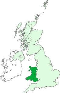 A map showing the location of Wales