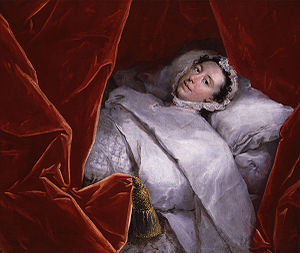 Peg Woffington - Margaret Woffington in bed after her paralysis, circa 1758.