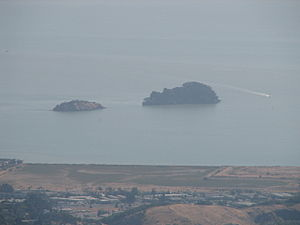 Marin Islands - View of both Marin Islands, from the East Peak of Mount Tamalpais.