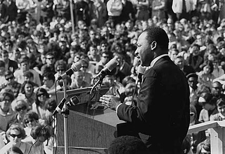 Martin Luther King, Jr. speaking to an anti-Vietnam War rally at the University of Minnesota, St. Paul on April 27, 1967 Martin Luther King Jr St Paul Campus U MN.jpg